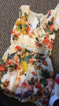 White, red, and green floral sleeveless romper Toronto, M1E 2M5