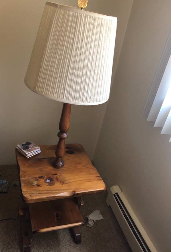 Side Table With Built In Lamp