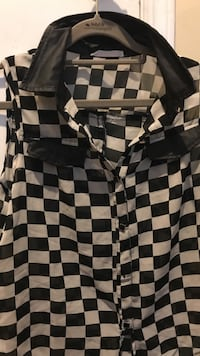 black and white checkered button up blouse