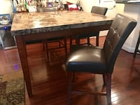 Rectangular brown wooden table with four chairs dining set Haymarket, 20169