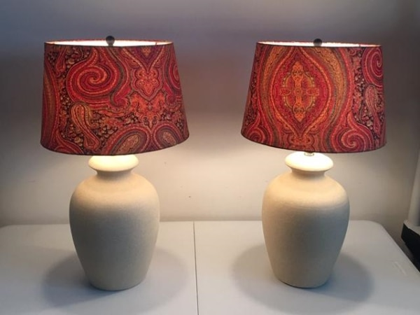Home Décor: Pair/Set of Table Lamps with Paisley shades and stone base