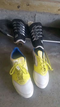 pair of yellow-white low tops; two black-white shin guards Calgary, T3K