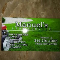 Manuel's Lawn services business card Dallas, 75219