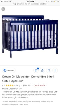 Royal Blue Convertible Crib/toddler bed District Heights, 20747