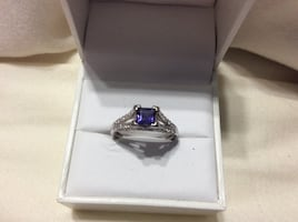 Iolite and White Topaz Cathedral Ring