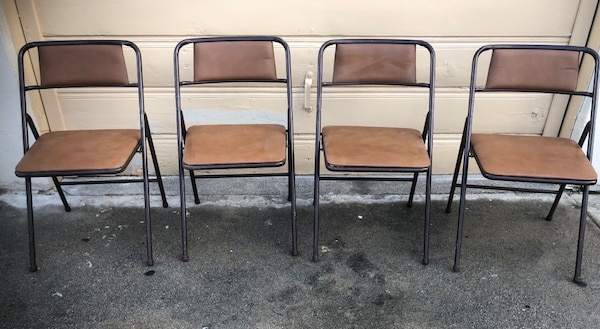 Amazing Set Of 4 Vintage Padded Folding Chairs Caraccident5 Cool Chair Designs And Ideas Caraccident5Info