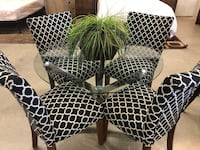 5 PC Chrome Glass Table & Black White Linen Chairs Set  Fountain Valley, 92708