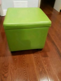 Square Lime Green Faux Leather Storage Ottoman. LIKE NEW
