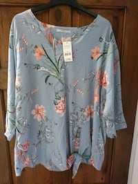 blue and red floral long-sleeved dress 5766 km