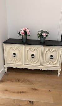 Shabby chic cabinet/buffet table with chalkboard painted top