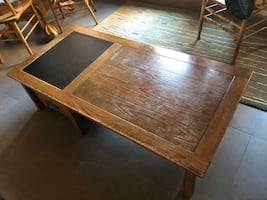Wooden coffee table with slate top