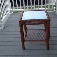 Brown wicker 2-layer table