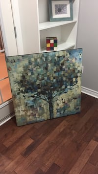 green and blue tree painting