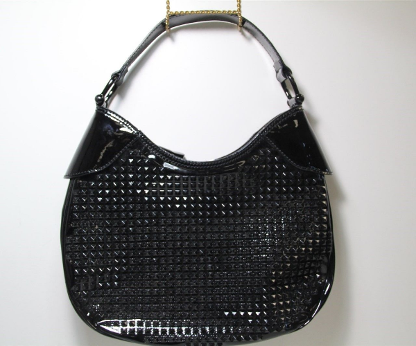 fd88cf496615 Used Burberry Women s Elly Studded Black Patent Leather Hobo Shoulder Hand  Bag for sale in Orange County