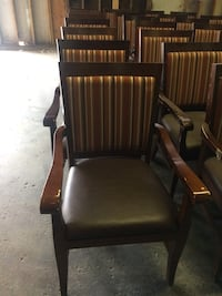 brown wooden framed black leather padded armchair Saanich, V9E