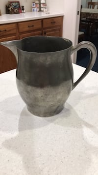 "Vintage pewter pitcher, 7"" tall Orlando"