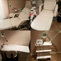 Massage table manicure table and chairs Brampton