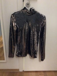 Svart sequined høyhals sweater Oslo, 0576