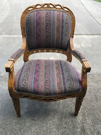 Solid wood dining chairs with custom upholstery. Set of six - $200