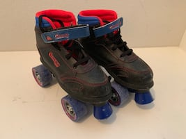 Pair of black-and-blue inline skates