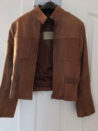 Custom made brown soft leather crop jacket. small ,Two front top pockets side belts to adjust width, excellent condition Alexandria, 22301