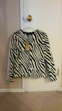 New H&M zebra-print coat size M