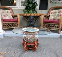 Vintage fishbowl Asian planter accent table Ocala, 34482