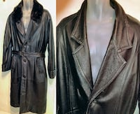 MENS Large 44 46 BLack Leather Trench Coat Long Vintage Heavy Cowhide Canada ReAL FuR Mink Collar Removeable Raincoat Oakville