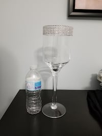 """Glass Candle Holder 14"""" tall with Crystal Beading Maple"""
