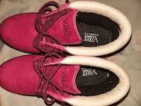 pair of maroon Vikes lace-up work boots