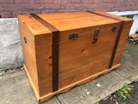 Wooden Trunk For Sale 47x24x28 $80 obo   Missing 1 Piece of trim