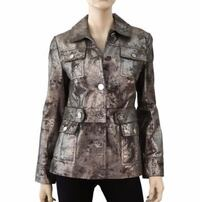 Tory Burch Distressed Metallic Silver Leather Jacket 2250 mi