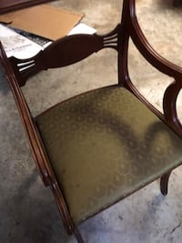 Brown wooden framed brown padded armchair and table  San Antonio, 78232