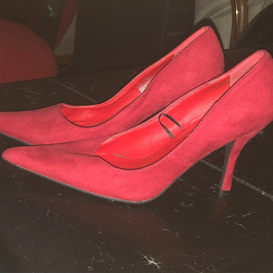 Red suede club couture dress shoe