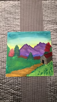 brown and red barn near trees painting