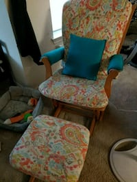 two brown wooden framed blue and red floral padded armchairs Fort Worth, 76135