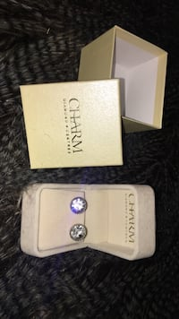 pair of silver Charm stud earrings with box