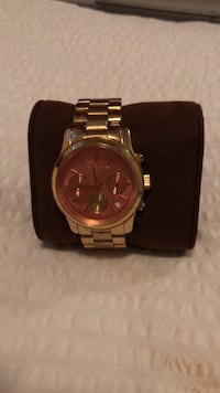 round gold Michael Kors chronograph watch with link bracelet Vancouver, V5Z 1A3
