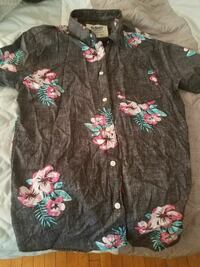black, pink, and green floral button-up collared shirt 325 mi