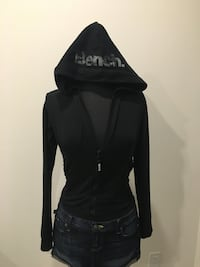 New black bench hooded crop zip up size S