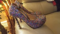 women's pair of multicolored platform stilettos
