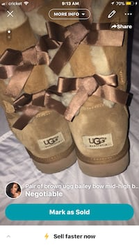pair of chestnut UGG Bailey Bow Tall boots screenshot