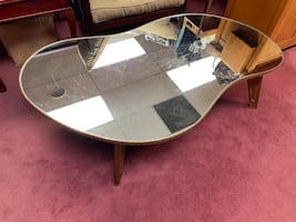 Mid Century Modern Amoeba Shaped Mirrored Top Coffee Table