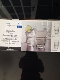 Brand new box 16 piece stackable glass beverage set