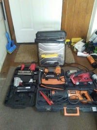 assorted-color power tool lot