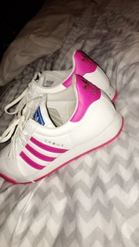 pink-and-white Adidas Samoa sneakers