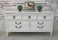 Triple Dresser, Distressed White Cottage Style, Shabby Farmhouse Chic Livonia