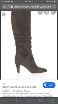 Women's Brian Atwood ruched brown suede knee boots. Vaughan, L4J 9J1