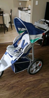 baby's blue and white stroller Surrey, V3R 1M5