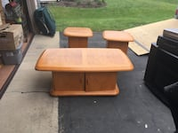 End tables solid wood. Large table has two doors for storage inside. The small end tables also have a single door for storage. Channahon, 60410